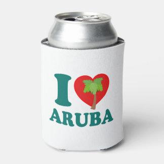I Love Aruba Palm Tree Can Cooler