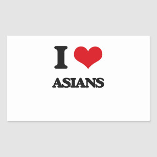 I Love Asians Rectangular Stickers