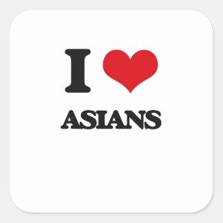 I Love Asians Square Sticker