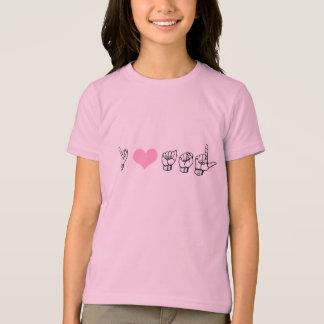 I Love ASL (American Sign Language) Girls Ringer T T-Shirt