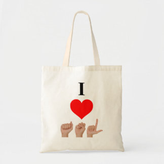 I Love ASL Budget Tote Bag