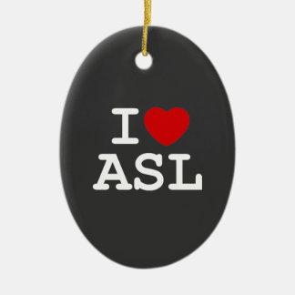 I Love ASL Ceramic Ornament