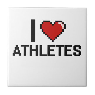 I love Athletes Small Square Tile