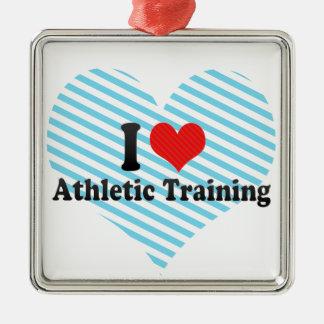 I Love Athletic Training Metal Ornament