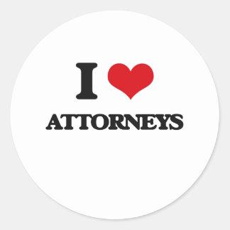 I Love Attorneys Round Stickers