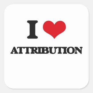 I Love Attribution Square Stickers