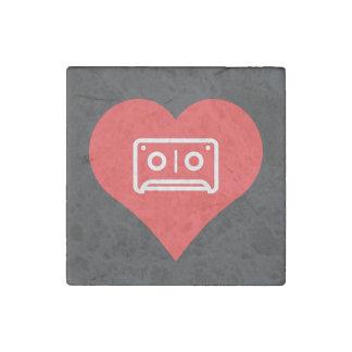 I Love Audio Cassettes Design Stone Magnet