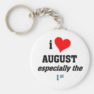 I love august 1st basic round button key ring