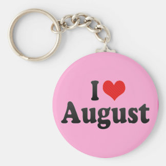 I Love August Keychain