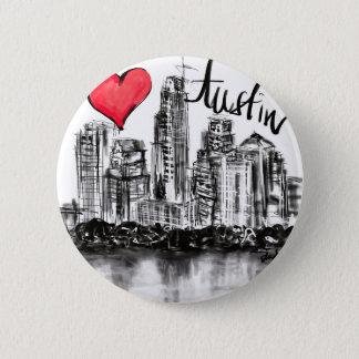 I love Austin 6 Cm Round Badge