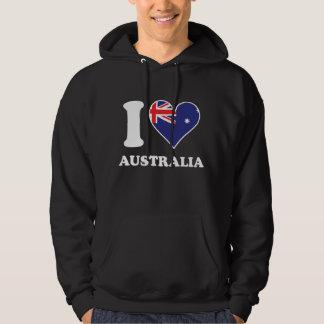 I Love Australia Australian Flag Heart Hoodie