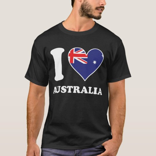 I Love Australia Australian Flag Heart T-Shirt