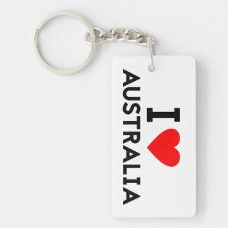 i love Australia country nation heart symbol text Double-Sided Rectangular Acrylic Key Ring