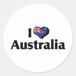 I Love Australia Flag Classic Round Sticker