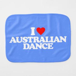 I LOVE AUSTRALIAN DANCE BABY BURP CLOTHS