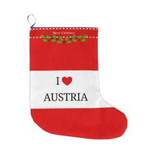 I Love Austria, Christmas Design Large Christmas Stocking
