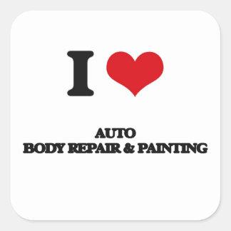I Love Auto Body Repair & Painting Square Sticker