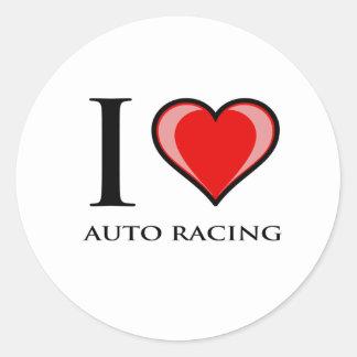 I Love Auto Racing Classic Round Sticker