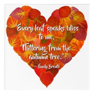 I Love Autumn—Red Aspen Leaf Heart 1, Brontë Quote Acrylic Print