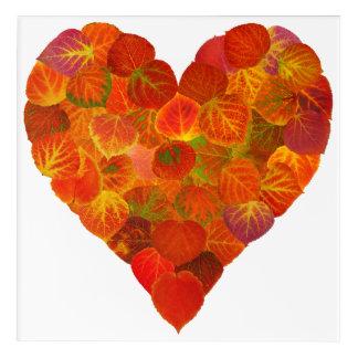 I Love Autumn, Subtle—Red Aspen Leaf Heart 1 Acrylic Print