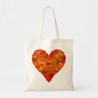 I Love Autumn, Subtle—Red Aspen Leaf Heart 1 Tote Bag