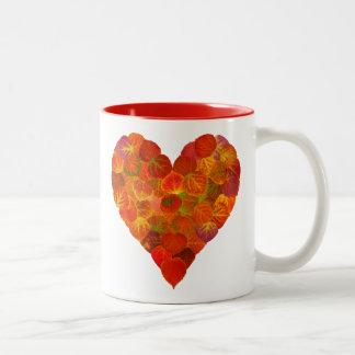 I Love Autumn, Subtle—Red Aspen Leaf Heart 1 Two-Tone Coffee Mug