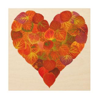I Love Autumn, Subtle—Red Aspen Leaf Heart 1 Wood Print