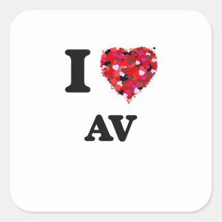 I Love Av Square Sticker