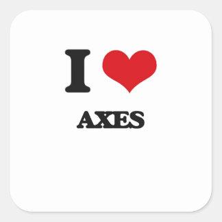 I Love Axes Square Sticker