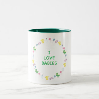 I Love Babies Two-Tone Coffee Mug