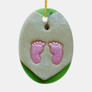 I love baby feet ceramic oval decoration