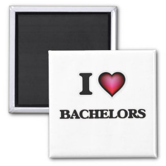 I Love Bachelors Square Magnet