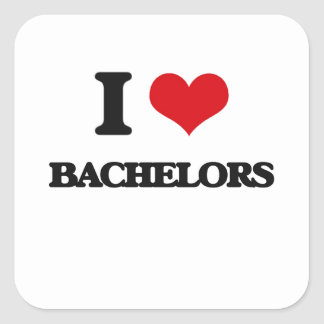 I Love Bachelors Square Sticker