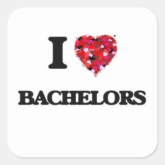 I Love Bachelors Square Sticker