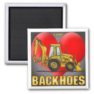 I Love Backhoes Coffee Mug Square Magnet
