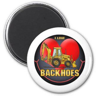 I Love Backhoes Kids Sticker Magnet