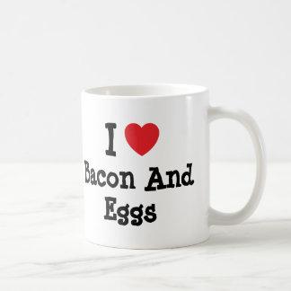 I love Bacon And Eggs heart T-Shirt Mugs
