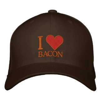 I LOVE BACON EMBROIDERED BASEBALL CAPS