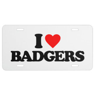 I LOVE BADGERS LICENSE PLATE