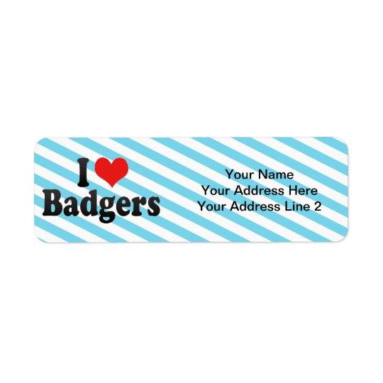 I Love Badgers Return Address Label