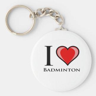 I Love Badminton Key Chain