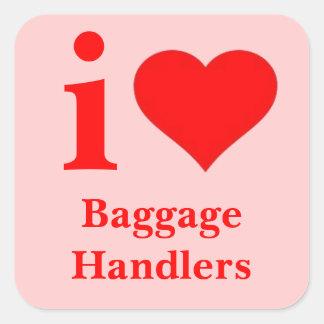 I Love Baggage Handlers Square Sticker