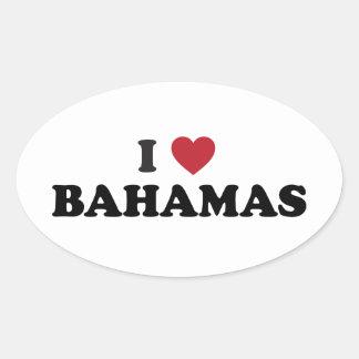 I Love Bahamas Oval Sticker