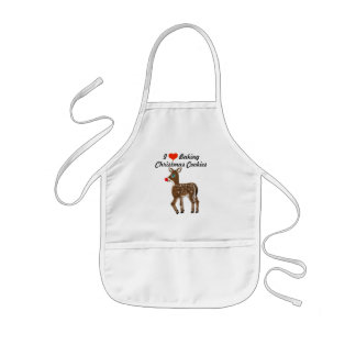 I Love Baking Christmas Cookies Reindeer Kids Apron