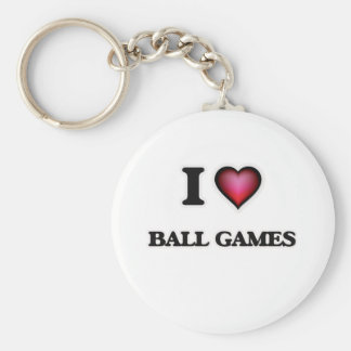 I Love Ball Games Basic Round Button Key Ring
