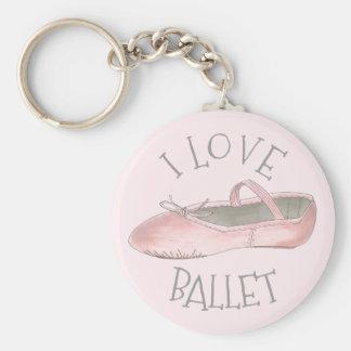 I Love Ballet Ballerina Pink Slipper Dance Teacher Key Ring