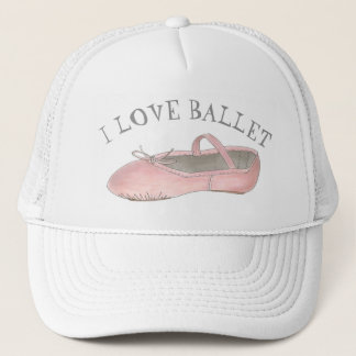 I Love Ballet Ballerina Pink Slipper Dance Teacher Trucker Hat