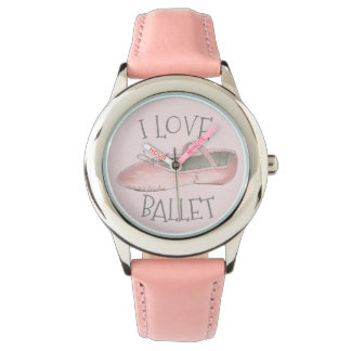 I Love Ballet Ballerina Pink Slipper Dance Teacher Watch