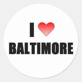 I love Baltimore Classic Round Sticker