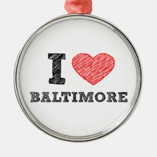 I-Love-Baltimore Metal Ornament